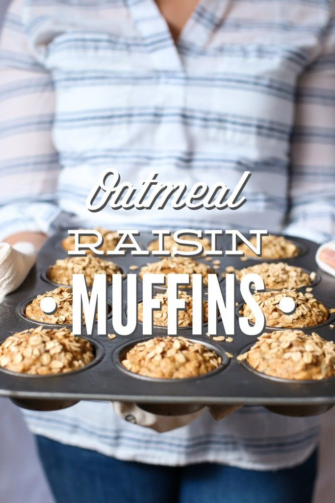 Whole grain oatmeal raisin muffins without refined sugar. These are so delicious--they taste just like a freshly made oatmeal raisin cookie. No processed ingredients!