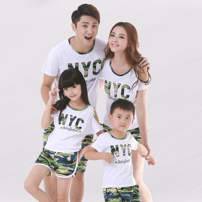 Preax Kids Mother & Kids Daughter Clothes Family Look letter printed T Shirt and camouflage pants suit Father Son Outfits