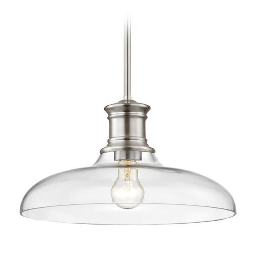 Nautical Pendant Light Satin Nickel with Clear Glass 14-Inch Wide | 1761-09 G1784-CL | Destination Lighting