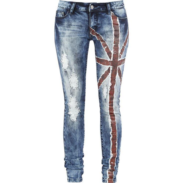 """R.E.D. by EMP Farkut, Naiset """"Flag Jeans (Slim Fit Naisten Farkut)"""" sininen •…"""