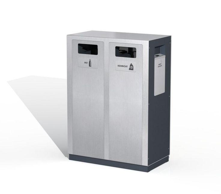 Wertstoffbehälter W2, Recyclingstation, Public Waste Bins, Edelstahl, Inox, Swiss Made, Abfallbehälter 110 Liter, PET Recycling