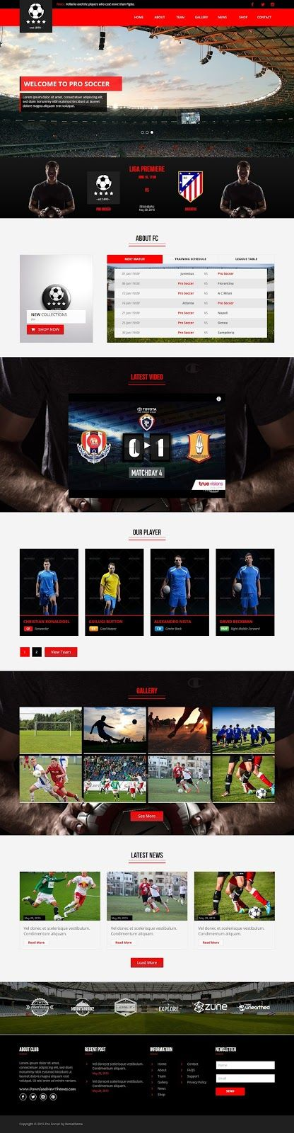 Pro Soccer is the Multipurpose template option for web developer or #football club, soccer club who needs a web template to promote and introduce their #sports club #website