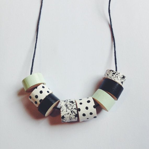 Beaded Necklace  Monchrome and Mint by lucie0ellen on Etsy