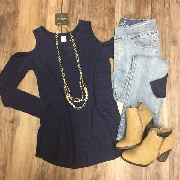 Cold Shoulder Knit Long Sleeve Top Open Shoulder Navy. Spring 2017 outfit ideas Stitch Fix Inspiration. www.hawthornecollection.com