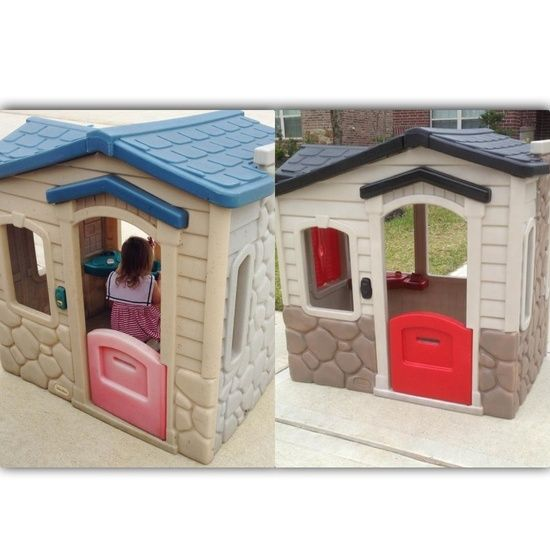 little tikes playhouse makeover | DIY... / Little Tikes Playhouse Makeover using Valspar Plastic Paint