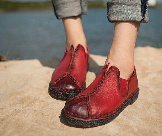 3 kleuren! Handgemaakte schoenen, Oxford vrouwen schoenen, platte schoenen, Retro lederen schoenen, Casual schoenen, schoenen van de lente/herfst