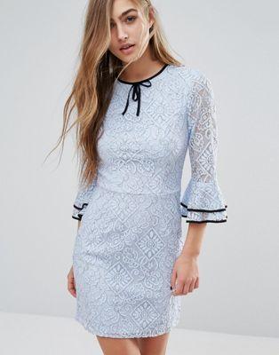 Miss Selfridge Lace Frill Sleeve Dress