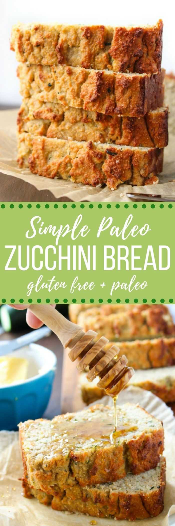 Paleo Zucchini Bread – moist, tender, and naturally sweetened. Enjoy along side…