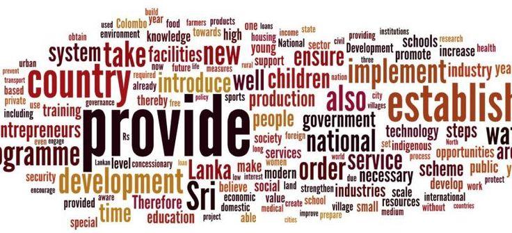 Mahinda Rajapaksa 2015 manifesto wordclouds