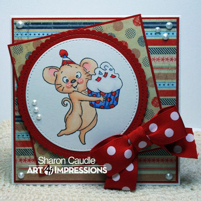 Art Impressions Rubber Stamps: AI Spinners...Frosting Spinner (sku# 4573) Handmade birthday card...mouse, cupcake