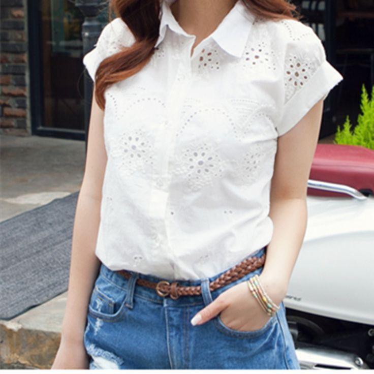 Blusas 2015 Fashion Sweet Embroidered Flower Women Hollow Cotton Linen Shirt Girl White Short-sleeve Blouse Shirts Women's Tops