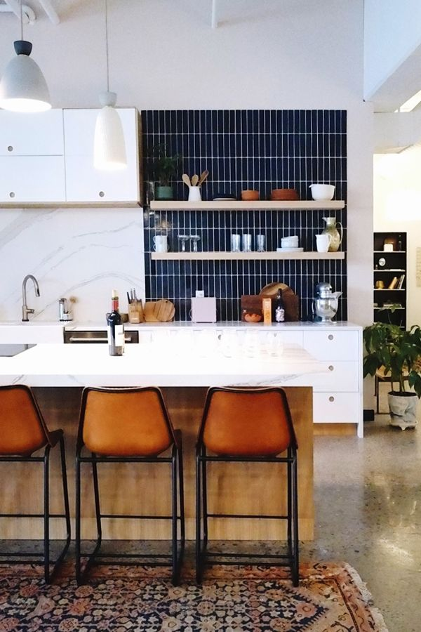 Kitchen Makeover dreaming. Waterfall island, matte black faucet, stone blackspash #kitchenmakeover #kitchen #waterfallisland