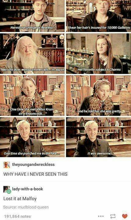 I'm sad cuz I have just recently begun to ship Hermione and Draco and now feeeeeeeeels!!! I hate fandoms sometimes… they give me feels I didn't even know I had
