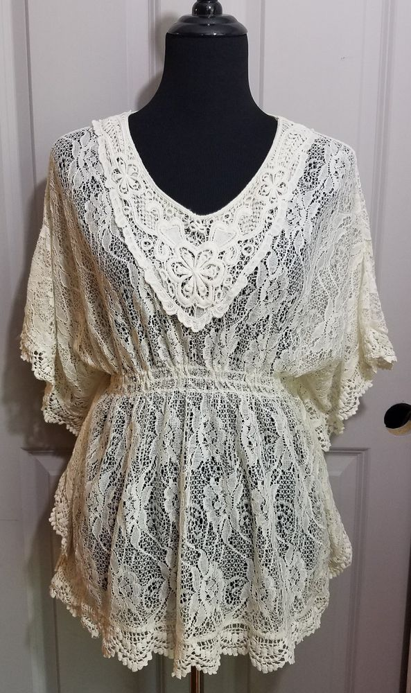 Rain women's Size Small Ivory Cream Lace Peasant Blouse Shirt Boho Top V Neck #Rain #Blouse #Casual