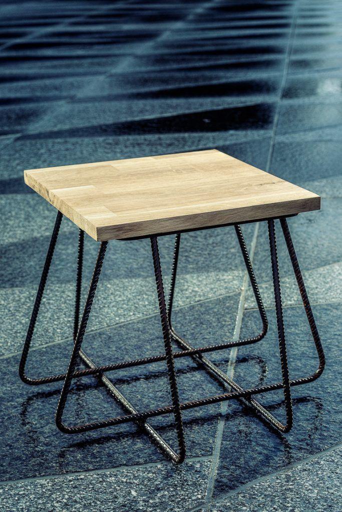 Festival SPOT – Sophie Vaugarny / Designer – Plasticienne table, tabouret, fer à béton bois