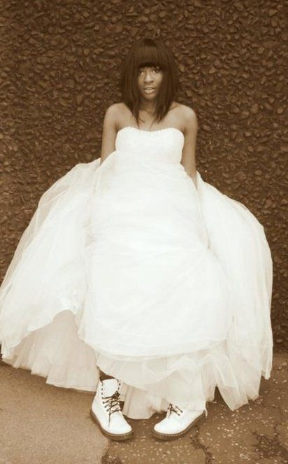 white dr martens with wedding dress. least i know that they look good! .. it's either dr martens or vans for me!! :)