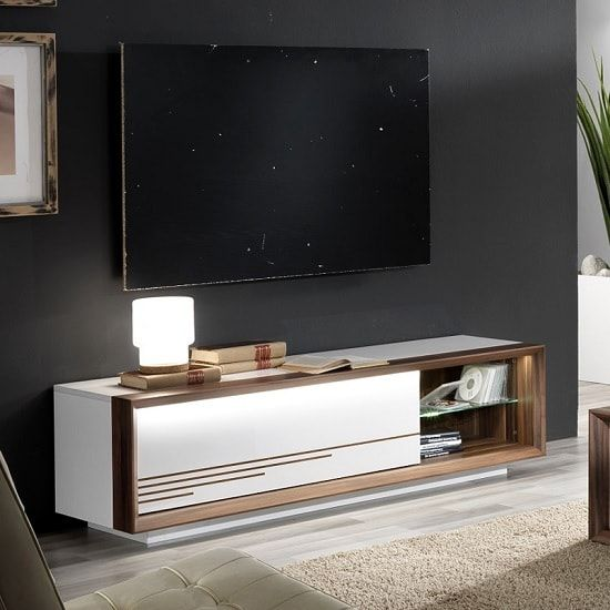Devon Wooden TV Stand In White High Gloss With LED Lighting