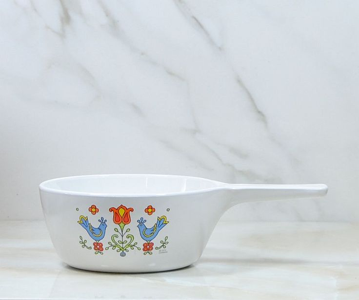 Vintage Corningware Saucepan Country Festival, No Lid, 1975, Corningware Pan, Stove Top White Saucepan, Blue Birds with Flowers, Cookware by winterparkcollect on Etsy