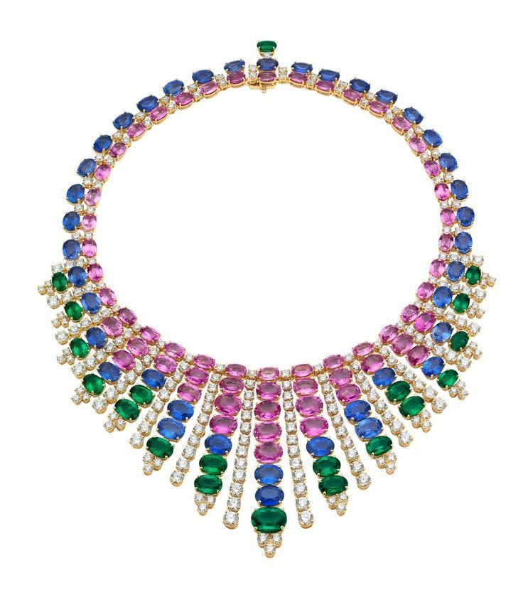 emerald sapphire and diamond necklace bulgari