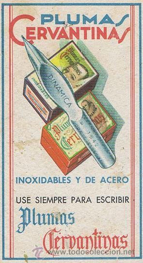 PAPEL SECANTE CON PUBLICIDAD DE PLUMAS CERVANTINAS DINAMICA. 9x15.5. Normal (con señales de uso Nor