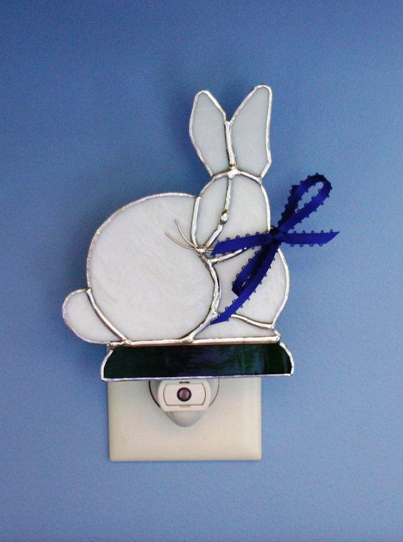 Night Light Stained Glass White Bunny Rabbit Bunnies