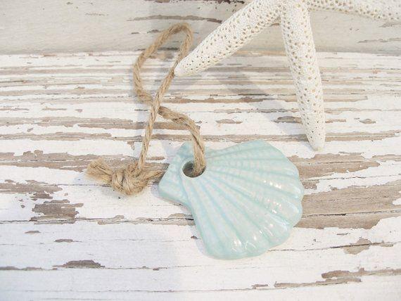 Ornament Sea Shell Ornament Green Small Scallop Shell Gift Tag Handmade Seashell Shell Ornaments Gift Tags Sea Shells