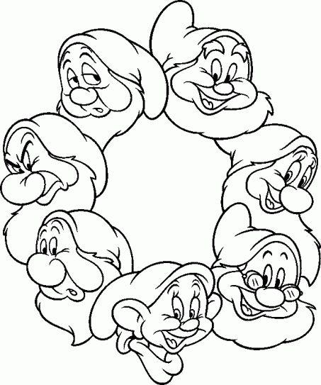 Seven Dwarfs circle to colour