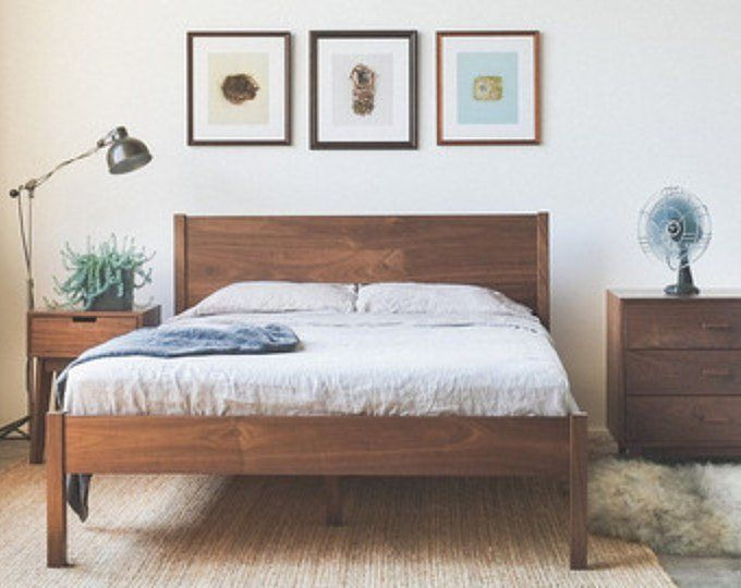 Fulton Bed Solid Walnut Bed Frame With Slanted Headboard