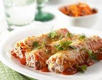 Cannelloni gevuld met gehakt, paprika en ricottakaas