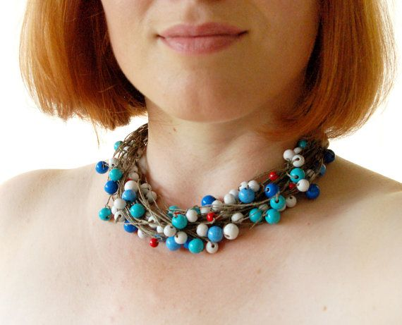 July 4th  Linen Necklace White Red Blue Beads by BeadedCoffeeTree, $30.00