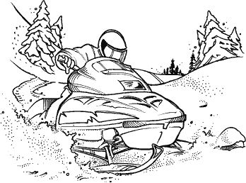 Snowmobile Scene M 96 Coloring Pages Winter Art Drawings