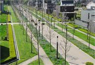 Idee voor de weg. Laat een centrale weg door de wijk heengaan met de grote complexen langs de zijkanten van de wegen. Zo is de wijk makkelijk navigeerbaar en geeft het een open uitstraling.