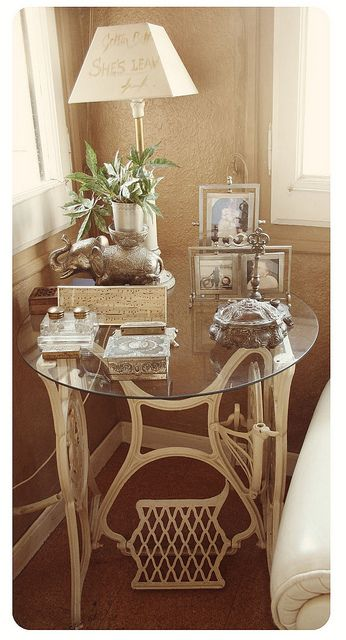 vintage sewing machine table by mysterymoor, via Flickr