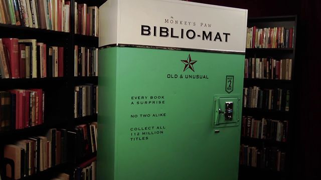 The BIBLIO-MAT by Craig Small. The Biblio-Mat is a random book dispenser built by Craig Small for The Monkey's Paw, an idiosyncratic antiquarian bookshop in Toronto. Biblio-Mat books, which vary widely in size and subject matter, cost two dollars. The machine was conceived as an artful alternative to the ubiquitous and often ignored discount sidewalk bin. When a customer puts coins into it, the Biblio-Mat dramatically whirrs and vibrates as the machine is set in motion. The ring of an old…