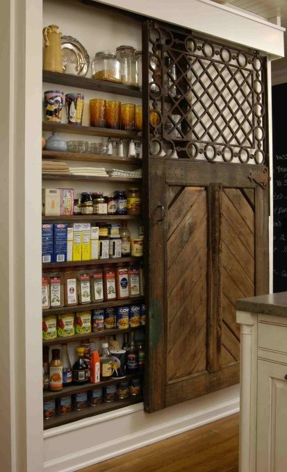 What a great use of space!Ideas, The Doors, Pantry Doors, Barn Doors, Spices Racks, Barns Doors, Old Doors, Pantries Doors, Sliding Doors
