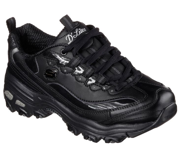 Skechers Women'S D'Lites Fresh Start Lace Up Sneaker Shoes Black 11931