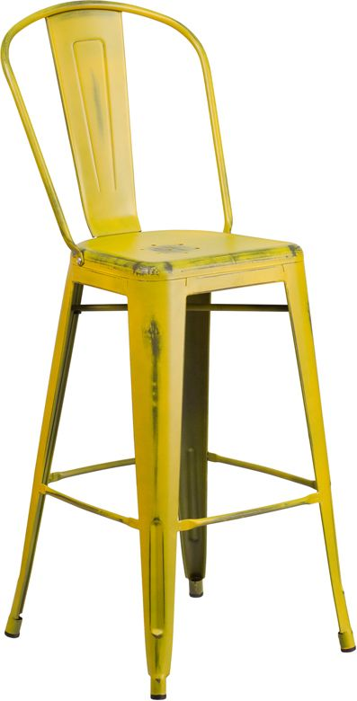OUTDOOR OR IN DOOR RESTAURANT BAR STOOLS : #36 - 30'' High Distressed Yellow Metal Indoor-Outdoor Industrial Style Resaurant Barstool - CJ Tables and Chairs