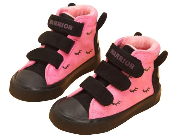 F2Y Girl's Rosy Velcro Strap Short Snow Boots Nonslip Lovely High Top Snow Boots Little Kid 12 M. Canvas. Magic tape design, easy to wear for kids. Lovely rabbit ears back, cute and sweet. Anti-slip rubber sole. Warm and Comfortable.