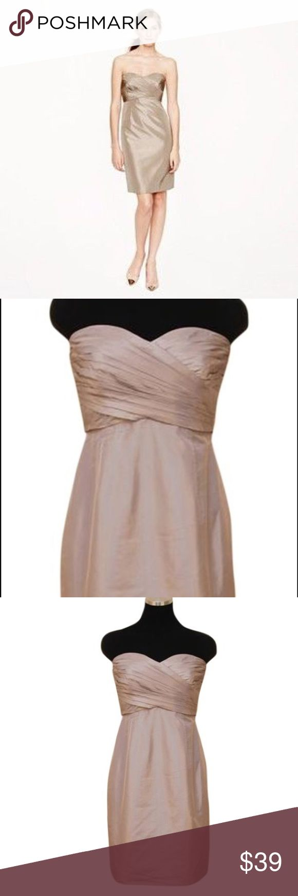 """NWT J Crew Kristin Dress Petite Lt brown Color is """"fawn"""" - shiny lt brown. Straight silhouette. Back zip. Silk taffeta. Strapless. Sweetheart bodice w interior corset for added support.. Tiny pleats. Tags have been marked to prevent store returns J. Crew Dresses Strapless"""
