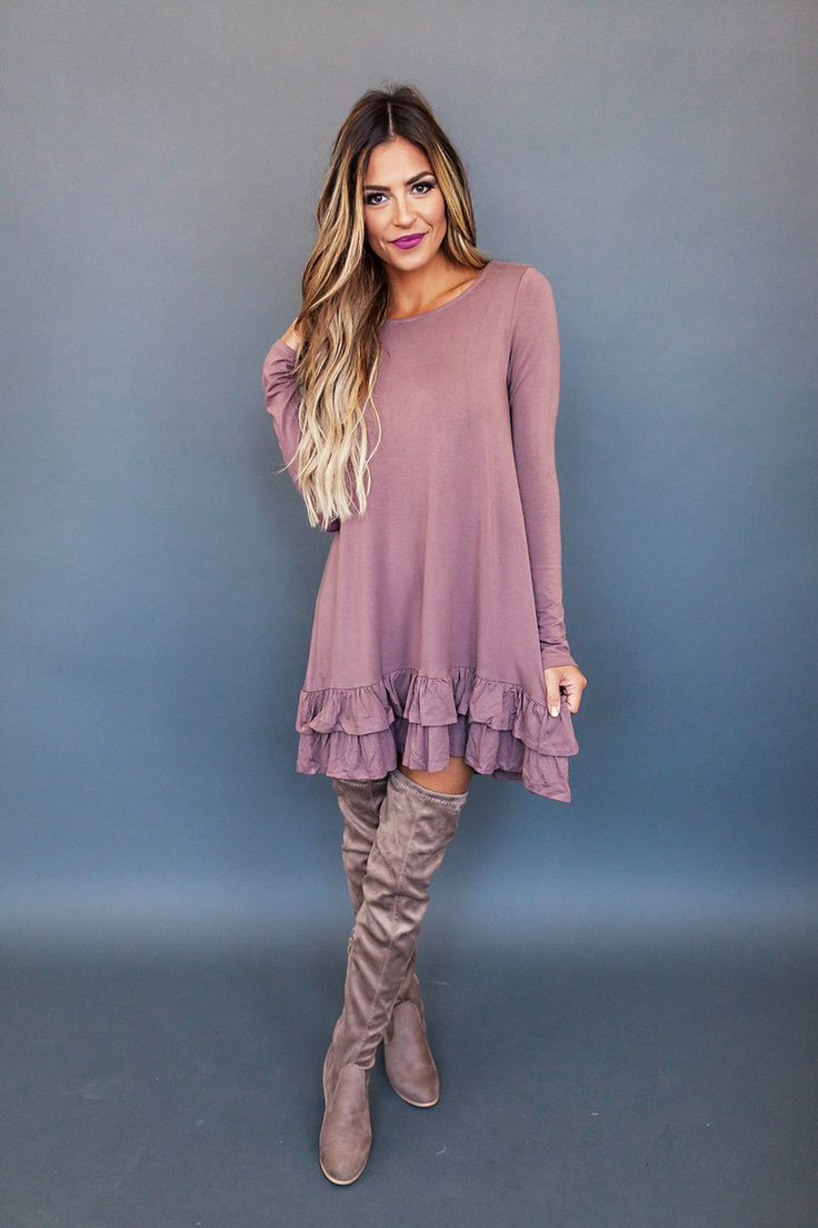 Mocha Ruffle Hem Dress - Dottie Couture Boutique