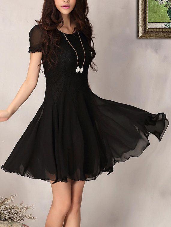 Black Lace Chiffon Dress Little Black Dress Black Fit