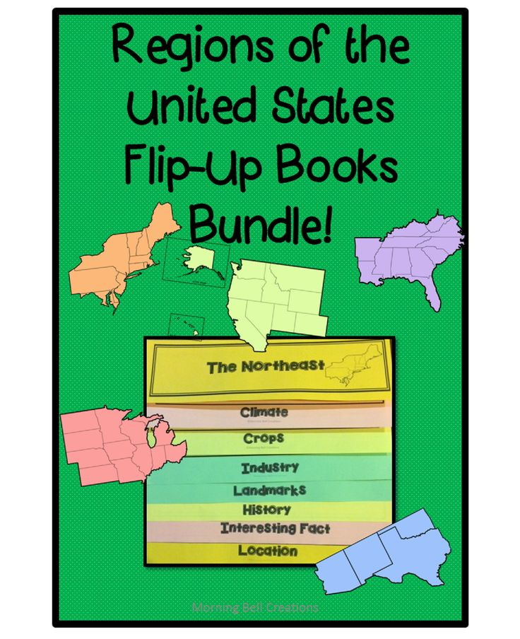 5 Flip-up books to enhance your unit on Regions of the United States! Grades 2-5