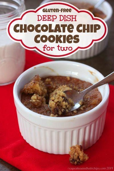 Gluten-Free Deep Dish Chocolate Chip Cookies for Two | cupcakesandkalechips.com | #dessert #glutenfree #chocolatechipcookies
