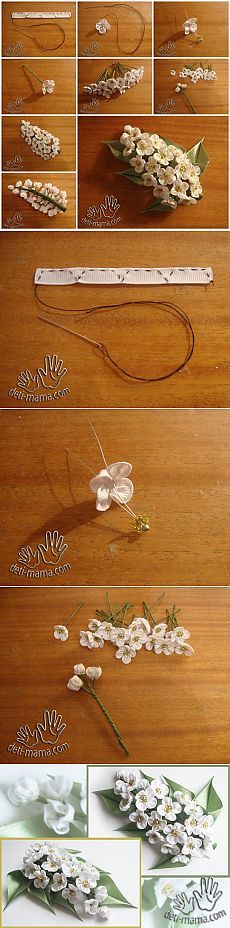 #fabric #flower #ribbon #kanzashi #inspiration #ornament #pearls #spray #wedding #bridal #geisha #fabricorigami
