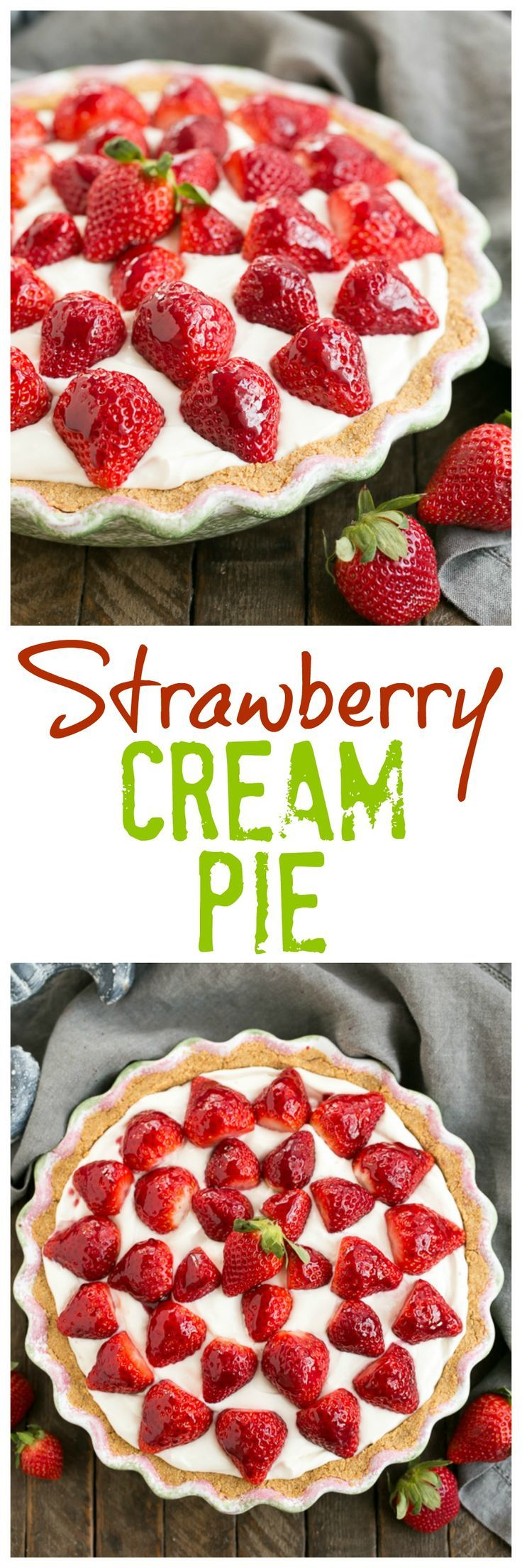 Strawberry Cream Pie | A dreamy, luscious cream pie topped with ripe berries @lizzydo