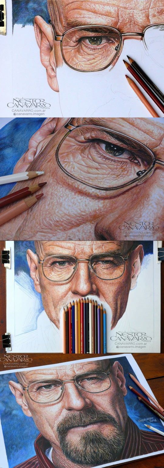 Breaking Bad, Hyperrealism In Colored Pencils - I'd be more impressed with this if it was done from memory only. I can do images like this from photos, but that's only copying what you see. Drawing what you can't see takes imagination and the ability to