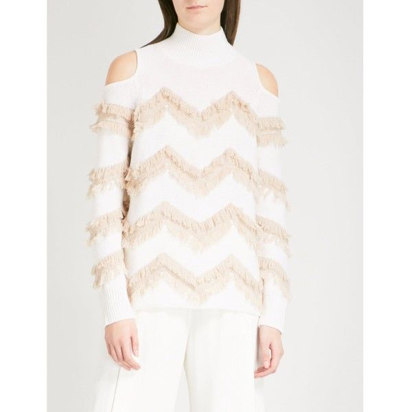 ZOE JORDAN Hawking wool and cashmere-blend jumper (700 CAD) ❤ liked on Polyvore featuring tops, sweaters, wool sweater, turtleneck sweaters, turtle neck sweater, cold shoulder turtleneck sweater and white sweater