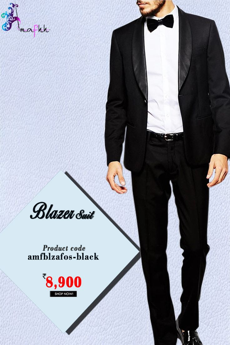 Black Terry Rayon #Blazer Suit Indulge yourself in celebration mood with this #BlazerSuit in Black. Synced with Terry rayon trouser pant in Black and Satin shirt in White #indowestern #menswear #stylish #fashion #onlineshopping #onlineweddingwear #discount #buyonline #latestcollection #designerblazer #thechoiceisyours