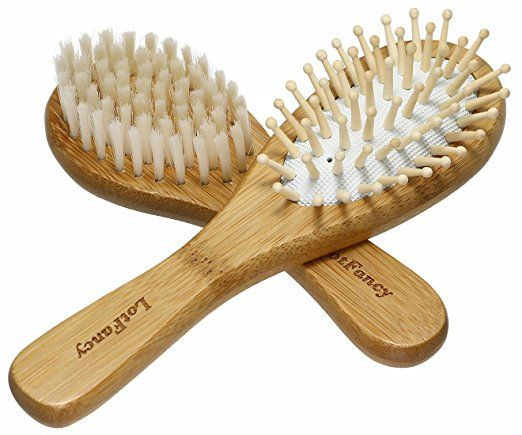 LotFancy Baby Hair Brush Set - Cradle Cap Brush with Super Soft Bristles & Bamboo Wood for Newborns and Toddlers Scalp Massaging - http://amzn.to/2sYQErv