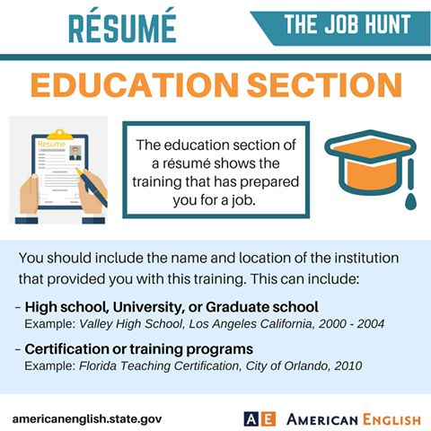 Résumé education section Business English \ certifications - education section of resume